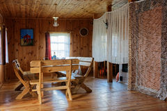Interior in  wooden rural tourist hotel Royalty Free Stock Photo