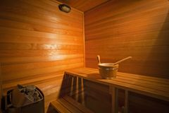 Interior of a wooden sauna Royalty Free Stock Image