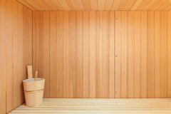 Interior of a wooden sauna Stock Image