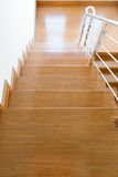 Interior wooden staircase of new house Royalty Free Stock Image