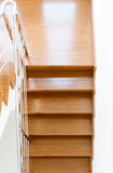 Interior wooden staircase of new house Stock Photography
