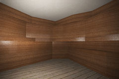 Interior with wooden veneer wall  and plank wood floor Royalty Free Stock Photography