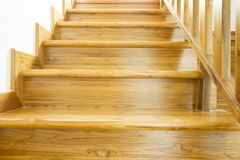 Wooden stairs and handrail. Interior work of wooden stairs and handrail stock photography