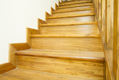 Wooden stairs and handrail. Interior work of wooden stairs and handrail stock photo