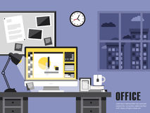 Interior of working place in flat design Royalty Free Stock Images