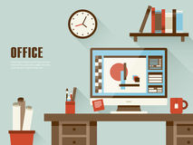 Interior of working place in flat design Royalty Free Stock Photos