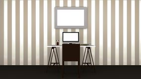 Working room  office. Interior Working room and office Vector Illustration