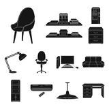 Interior of the workplace black icons in set collection for design. Office furniture vector symbol stock web. Interior of the workplace black icons in set Stock Photography