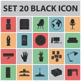 Interior of the workplace black icons in set collection for design. Office furniture vector symbol stock web. Interior of the workplace black icons in set Stock Images