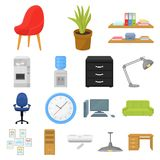 Interior of the workplace cartoon icons in set collection for design. Office furniture vector symbol stock web. Interior of the workplace cartoon icons in set Stock Photography