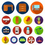 Interior of the workplace flat icons in set collection for design. Office furniture vector symbol stock web illustration. Interior of the workplace flat icons in Stock Photos