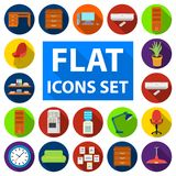 Interior of the workplace flat icons in set collection for design. Office furniture vector symbol stock web illustration. Interior of the workplace flat icons in Royalty Free Stock Photography
