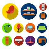 Interior of the workplace flat icons in set collection for design. Office furniture vector symbol stock web illustration. Interior of the workplace flat icons in Stock Image