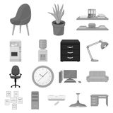 Interior of the workplace monochrome icons in set collection for design. Office furniture vector symbol stock web. Interior of the workplace monochrome icons in Stock Photos