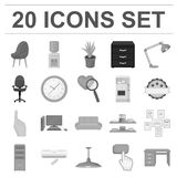 Interior of the workplace monochrome icons in set. Collection for design. Office furniture vector symbol stock  illustration Stock Images