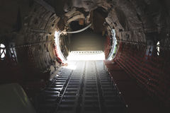 The interior of the wreckage a military airplane Stock Photo