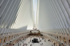 Interior of the WTC Transportation Hub. On August 24, 2017 in New York City, USA. The main station house, the Oculus, opened on March 4, 2016 Stock Images