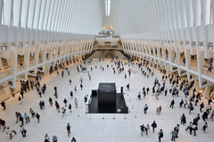 Interior of the WTC Transportation Hub. On August 23, 2017 in New York City, USA. The main station house, the Oculus, opened on March 4, 2016, and the terminal Royalty Free Stock Images