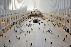 Interior of the WTC Transportation Hub. On August 24, 2017 in New York City, USA. The main station house, the Oculus, opened on March 4, 2016 Royalty Free Stock Photo