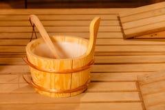 Interior y accesorios de la sauna Foto de archivo libre de regalías