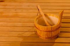 Interior y accesorios de la sauna Imágenes de archivo libres de regalías