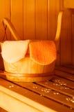 Interior y accesorios de la sauna Imagen de archivo