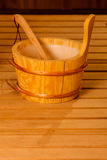 Interior y accesorios de la sauna Fotos de archivo
