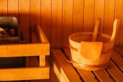 Interior y accesorios de la sauna Imagen de archivo libre de regalías