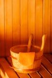 Interior y accesorios de la sauna Fotos de archivo libres de regalías