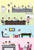 Interior y disposición planos del edificio de la empresa de negocios para cada depa ilustración del vector