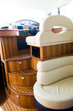 Interior of yacht. Interior steering wheel area in a luxury yacht Royalty Free Stock Image