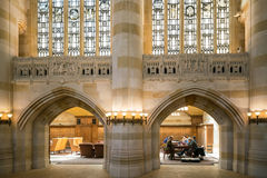 Interior of Yale University library stock photography
