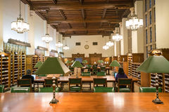Interior of Yale University library stock photo