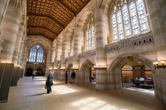 Interior of Yale University library. Yale University, New Haven - April 15: Interior of Yale University library on April 15, 2016 stock photo