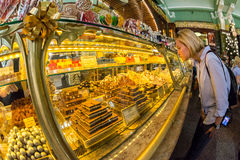 Interior of Yeliseev`s Food Hall. Yeliseyev Grocery Store constr Royalty Free Stock Photo