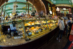 Interior of Yeliseev`s Food Hall. Yeliseyev Grocery Store constr Stock Photo