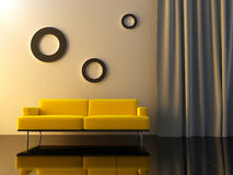Interior - Yello couch Royalty Free Stock Image