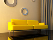 Interior - Yello couch Royalty Free Stock Photo