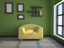 Interior with a yellow armchair Stock Photography