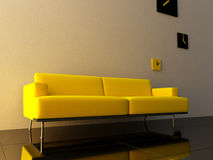 Interior - Yellow couch Royalty Free Stock Images