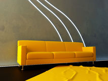 Interior - Yellow couch and neon wave Royalty Free Stock Photo
