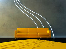 Interior - Yellow couch and neon wave Stock Photos