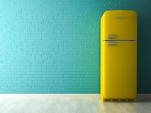 Interior with yellow fridge 3D rendering Stock Images