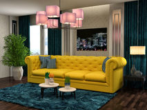 Interior with yellow sofa. 3d illustration Stock Image