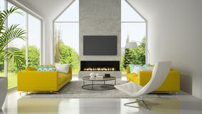 Interior with yellow sofas and fireplace 3D rendering Stock Photo