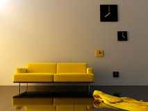 Interior - Yellow velvet, sofa and time zone clock Stock Photo