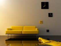 Interior - Yellow velvet, sofa and time zone clock Stock Photo