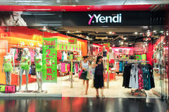Interior of Yendi fashion clothes store Stock Images