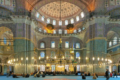 Interior of Yeni Mosque in Istanbul, Turkey Royalty Free Stock Photography