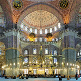 Interior of Yeni Mosque in Istanbul, Turkey Royalty Free Stock Photos